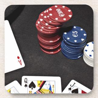 Poker ace bet good hand drink coaster