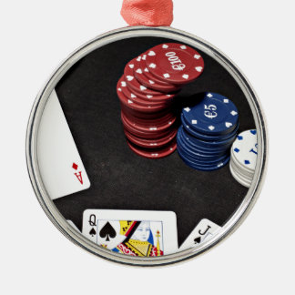 Poker ace bet good hand metal ornament