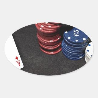 Poker ace bet good hand oval sticker