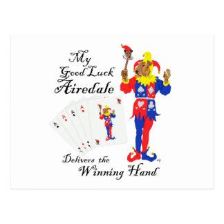 Póker Airedale Terrier de la buena suerte Postales