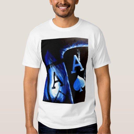 Poker Art Blue Flame Pocket Aces Las Vegas T-shirt