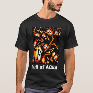 POKER ART FLAMING ACES COLLAGE T-Shirt