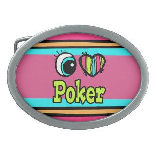 Póker brillante del amor del corazón I del ojo Hebillas De Cinturon Ovales
