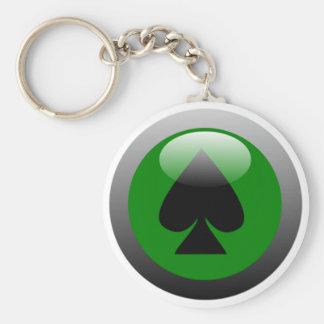 Poker Button - Spade Basic Round Button Keychain