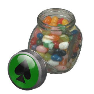 Poker Button - Spade Glass Candy Jar