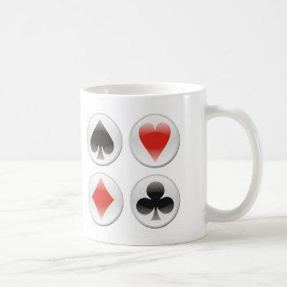 Poker card icons on white coffee mug