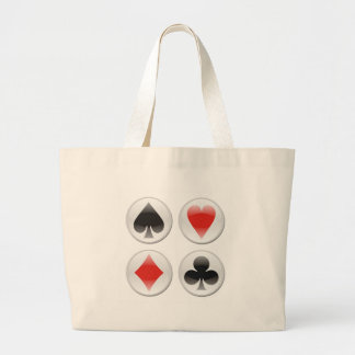 Poker card icons on white large tote bag