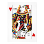 "Poker Card Queen + King of Hearts Wedding Invites 5"" X 7"" Invitation Card"
