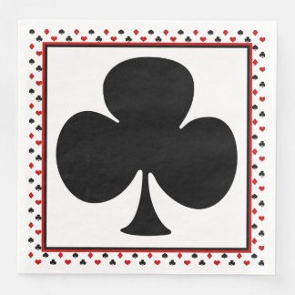 Poker Card Theme | Black Club Paper Dinner Napkin