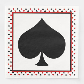 Poker Card Theme | Black Spade Paper Dinner Napkin