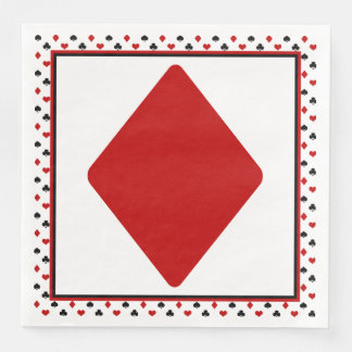 Poker Card Theme | Red Diamond Paper Dinner Napkin