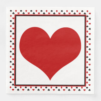 Poker Card Theme | Red Heart Paper Dinner Napkin