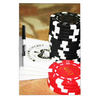 Poker Cards Aces Chips Gambling Casino Win Game Dry-Erase Board