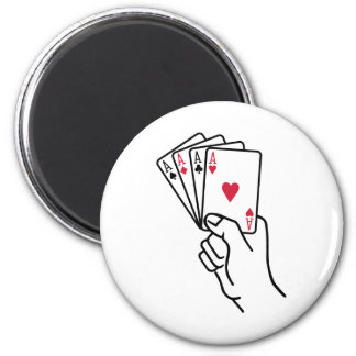 Poker cards aces hand 2 inch round magnet