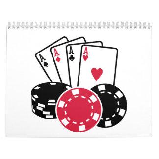 Poker cards chips calendar