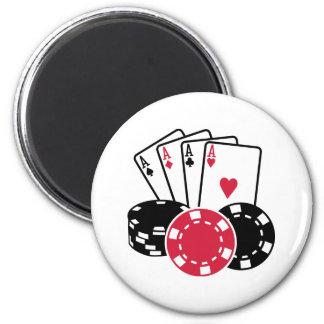 Poker cards chips fridge magnet
