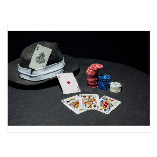 Poker cards gangster hat