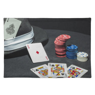 Poker cards gangster hat cloth placemat