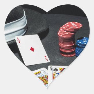 Poker cards gangster hat heart sticker