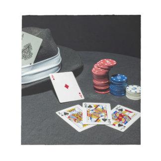 Poker cards gangster hat notepad