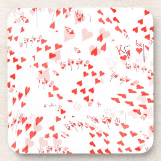 Poker Cards Hearts Straight Flush Pattern, Coaster