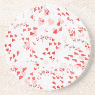 Poker Cards Hearts Straight Flush Pattern, Sandstone Coaster
