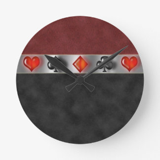 Poker Cards Suite Games Digital Black Red Suede Round Clock