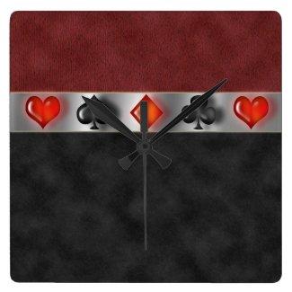 Poker Cards Suite Games Digital Black Red Suede Round Clock