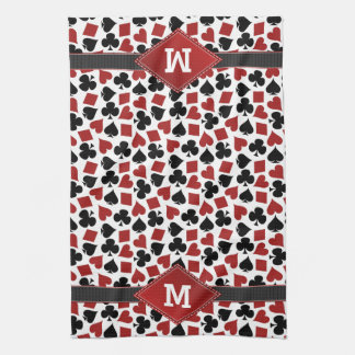 Poker Casino Suit Pattern Monogram Hand Towel