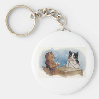 Poker Cats Artwork by Louis Wain Basic Round Button Keychain