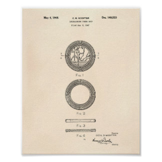 Poker Chip 1948 Patent Art Old Peper Poster