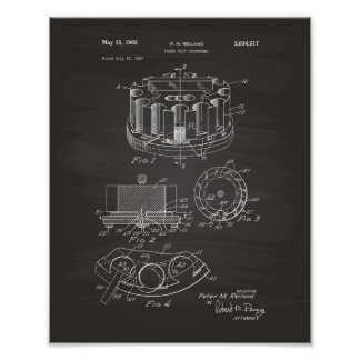 Poker Chip 1962 Patent Art Chalkboard Poster