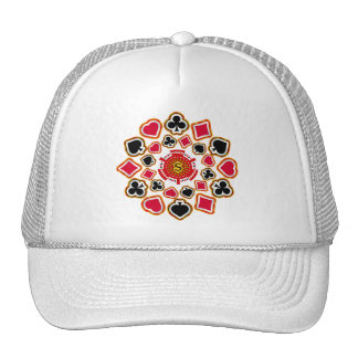 Poker Chip and Card Suits Mesh Hats