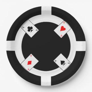 Poker Chip - Black Paper Plate