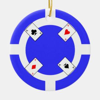 Poker Chip - Blue Ceramic Ornament