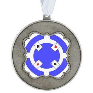 Poker Chip - Blue Pewter Ornament