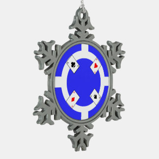 Poker Chip - Blue Snowflake Pewter Christmas Ornament