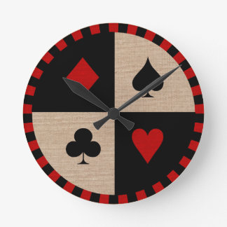 Poker Chip Card Suits Round Clock