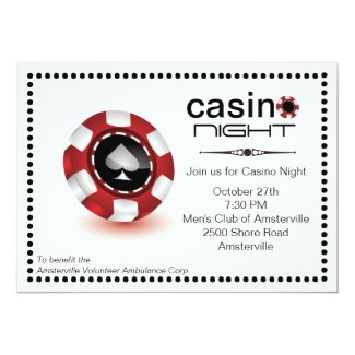 Poker Chip Casino Party Invitation