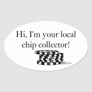 Poker chip collector stickers. oval sticker