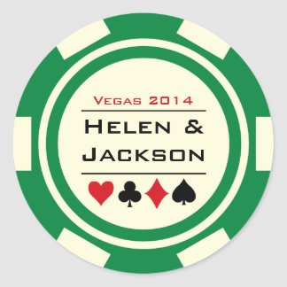 Poker Chip Green and White Classic Round Sticker