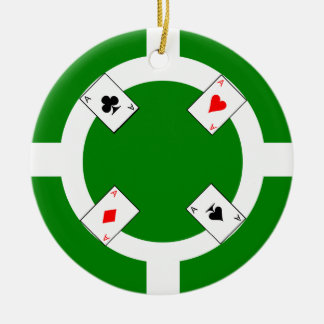 Poker Chip - Green Ceramic Ornament