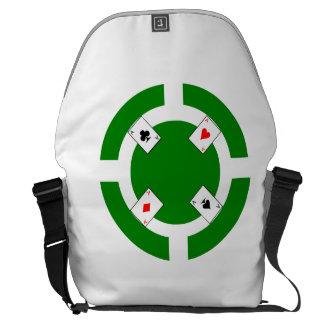 Poker Chip - Green Courier Bag