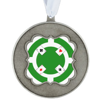 Poker Chip - Green Pewter Ornament