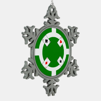 Poker Chip - Green Snowflake Pewter Christmas Ornament