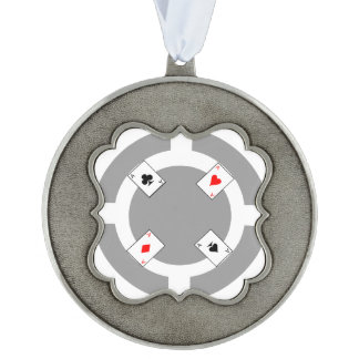 Poker Chip - Grey Pewter Ornament