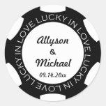 Poker chip lucky in love wedding favor label black sticker