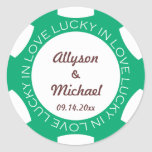 Poker chip lucky in love wedding favor label green round sticker