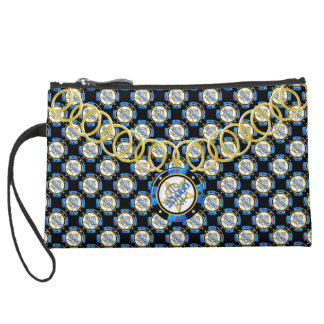 Poker Chip Luxury Sueded Baguette Clutch