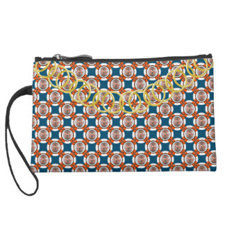 Poker Chip Luxury Sueded Baguette Orange Blue Suede Wristlet Wallet